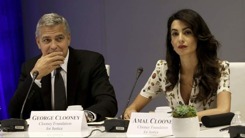 AMAL & GEORGE CLOONEY AT A NEWS COPNFERENCE#4