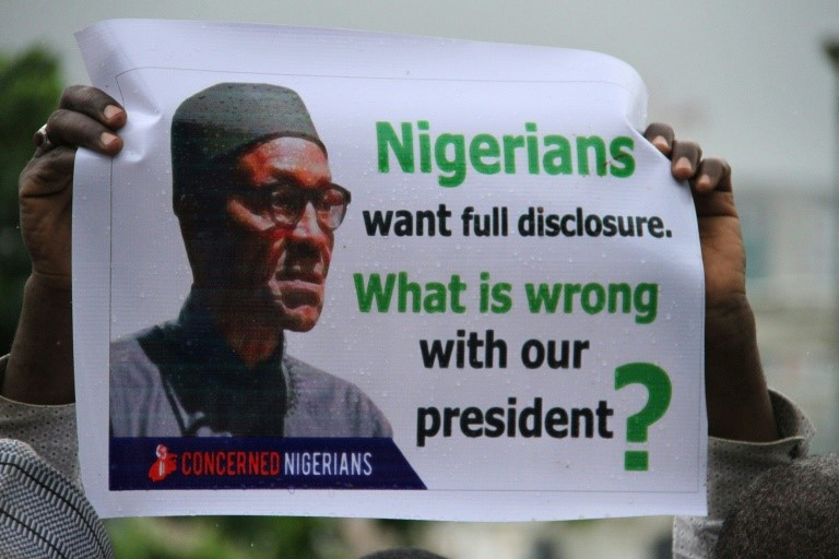 BUHARI IS BACK IN NIGERIA NIGERIAN PROTEST , POSTER