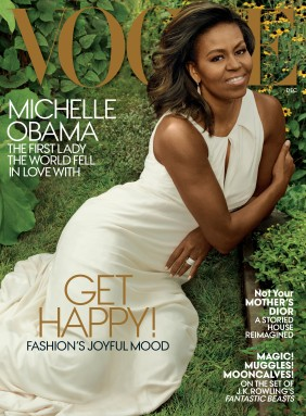 MICHELE OBAMA IN A WHITE GOWN