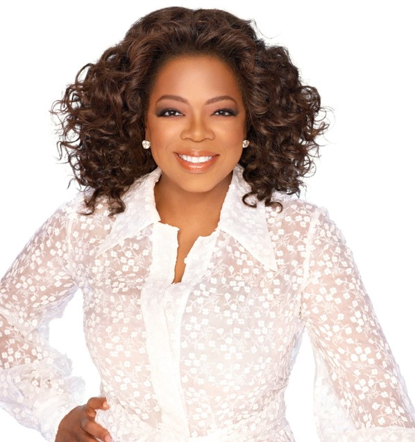 OPRAH IN A WHITE LACE DRESS