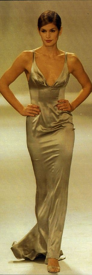 CINDY CRAWFORD WEARING AN OLIVE SILK GOWN IN THE 90S.jpg