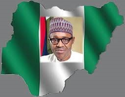 NIGERIAN FLAG WITH BUHARI`S FACE ON IT