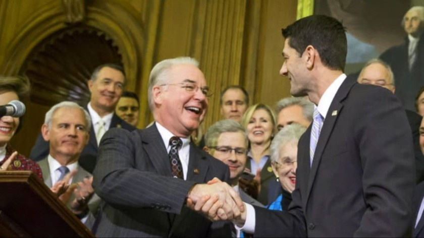 TOM PRICE, FORMER HHS SECRETARY, SHAKING HANDS WITH HOUSE SPEAKER, PAUL RYAN