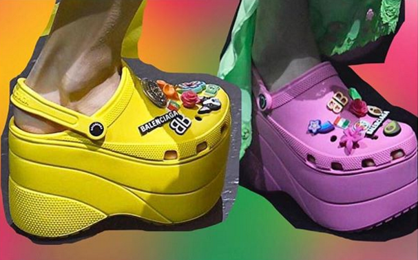 BALENCIAGA CROCS IN YELLOW AND PURPLE