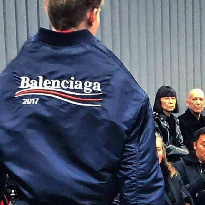 BALENCIAGA MODEL WEARING COMPANY LOGO FOR 2017 ON THE RUNWAY