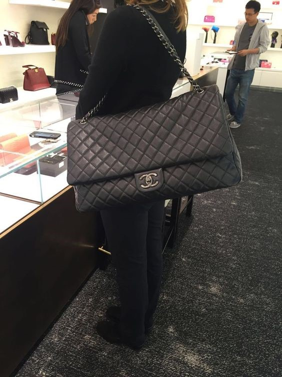 CHANEL EXTRA LARGE BLACK LAMBSKIN JUMBO BAG