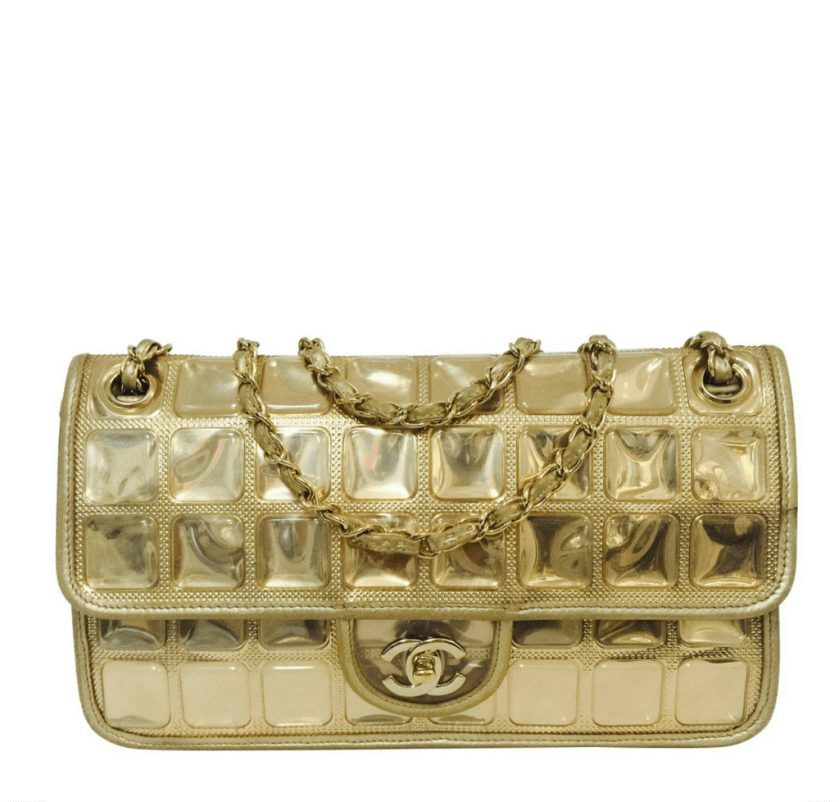 CHANEL ICE CUBE GOLD METALIC LAMBSKIN LEATHER