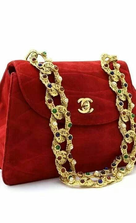 CHANEL RED VELVET BAG WITH PRECIOUS JEWEL ENCRUSTED HARDWARE