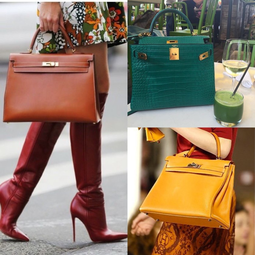 HERMES 2018 BROWN, GREEN AND YELLOW KELLY BAGS