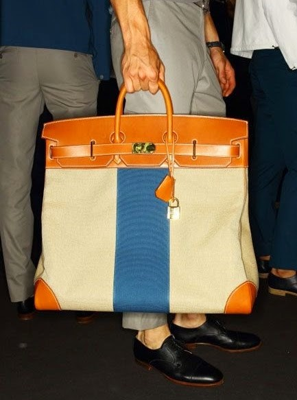HERMES, LARGE HERMES TEXTILE CANVAS BAG