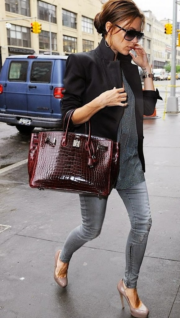 HERMES VICTORIA BECKHAM WITH HER BORDEAUX HERMES BIRKIN BAG